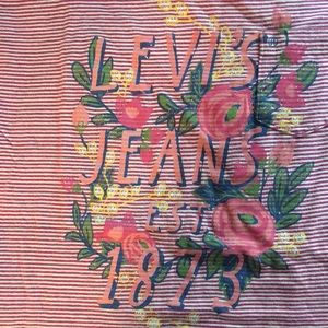 Levis Girls long sleeved striped red & white shirt